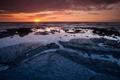 Картинка море, вода, закат, камни, лужи