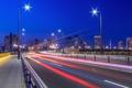 Картинка свет, ночь, мост, город, огни, выдержка, Япония