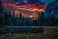 Картинка закат, облака, Yosemite National Park, горы