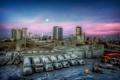 Картинка закат, машины, город, завод
