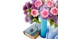 Картинка цветы, розы, букет, кольца, ожерелье, книга, колье