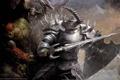 Картинка дождь, меч, воин, рога, битва, орки, доспех