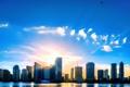 Картинка небо, солнце, дома, Майами, Флорида, USA, США