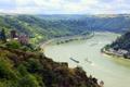 Картинка пейзаж, река Германия, водный, канал, катера, замок, сверху