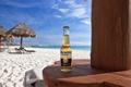 Картинка песок, пиво, пляж, бутылка, океан