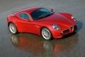 Картинка car, отражение, мокрый асфальт, road, Alfa romeo