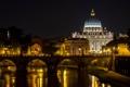 Картинка Ватикан, река, Тибр, Собор Святого Петра, Рим, ночь, огни