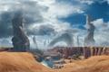 Картинка песок, облака, камни, планета, скелеты, монолиты, Titanfall