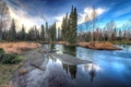 Картинка осень, небо, облака, деревья, отражение, река, дно