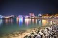 Картинка камни, пляж, Тайланд, паттайя, ночь, море, огни