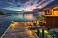 Картинка небо, закат, океан, вечер, Мальдивы, мостик, бунгало