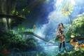 Картинка девушка, деревья, игра, арт, посох, nintendo, game