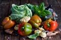 Картинка листья, масло, перец, овощи, капуста