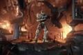 Картинка огонь, взрывы, солдат, спартанец, мастер чиф, halo 4, master chief