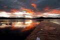 Картинка закат, мост, озеро, вёсла