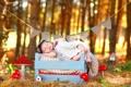 Картинка осень, младенец, ящик