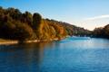 Картинка осень, лес, небо, деревья, мост, река, лодка