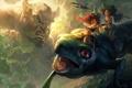 Картинка камни, движение, фантастика, монстр, ящерица, арт, существа