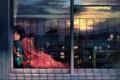 Картинка девушка, закат, птицы, комната, аниме, слезы, арт