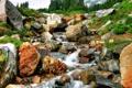Картинка трава, деревья, горы, река, камни, поток