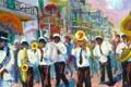 Картинка США, карнавал, оркестр, улица, город, музыканты, New Orleans Second Line