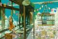 Картинка город, vocaloid, hatsune miku, флажки, подъемник, фуникулер
