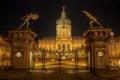 Картинка ночь, огни, замок, ворота, Германия, Берлин, Шарлоттенбург