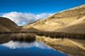 Картинка трава, озеро, отражение, холмы, тонкий лед