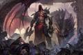 Картинка фантастика, дракон, корона, демон, арт, топор, король