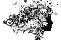 Картинка профиль, лицо, силуэт, бабочки, девушка, абстракции, цветы