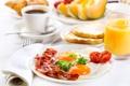 Картинка кофе, завтрак, сок, фрукты, круассаны, breakfast, сервировка