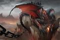 Картинка трещины, скала, дракон, арт, ярость, цепь