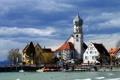 Картинка город, здания, Германия, Бавария, пирс, часовня, Вассербург