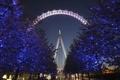 Картинка Лондонский глаз, Рождество, колесо обозрения, огни, деревья, Лондон, Англия