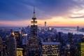 Картинка закат, огни, побережье, дома, Нью-Йорк, небоскребы, залив