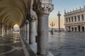 Картинка Италия, Венеция, дворец дожей, пьяцетта, колонна Святого Теодора