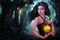 Картинка fire, forest, magic, woman, lights ball
