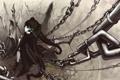 Картинка девушка, оружие, цепи, black rock shooter, Мато, стрелок с чёрной скалы