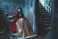 Картинка девушка, дом, лестница