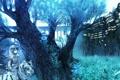 Картинка девушка, деревья, ночь, мост, тигр, грибы, дома