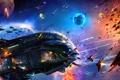 Картинка космос, корабли, битва, выстрелы