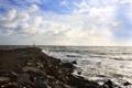 Картинка пейзаж, небо, облака, волны, море, берег, природа