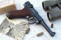 Картинка фото, пистолет, карта, бинокль, патроны, Парабеллум, P08