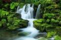 Картинка природа, камни, водопад, мох
