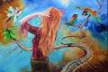 Картинка Wlodzimierz Kuklinski, полотно, девушка, рисунок, птицы, листья, цветок