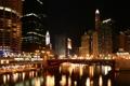 Картинка ночь, мост, city, дома, Чикаго, Chicago, высотки