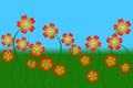 Картинка небо, трава, цветы, лепестки