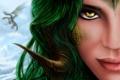 Картинка девушка, лицо, дракон, чешуя, арт, рога, зеленые волосы