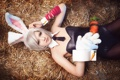 Картинка девушка, сено, лежит, ушки, lol, League of Legends, riven