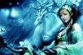Картинка dragon sword, бабочки, девушка, рога, олень